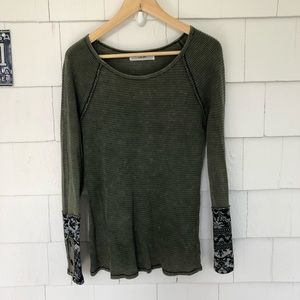 Able Olive Green Novelty Cuff Thermal Raglan